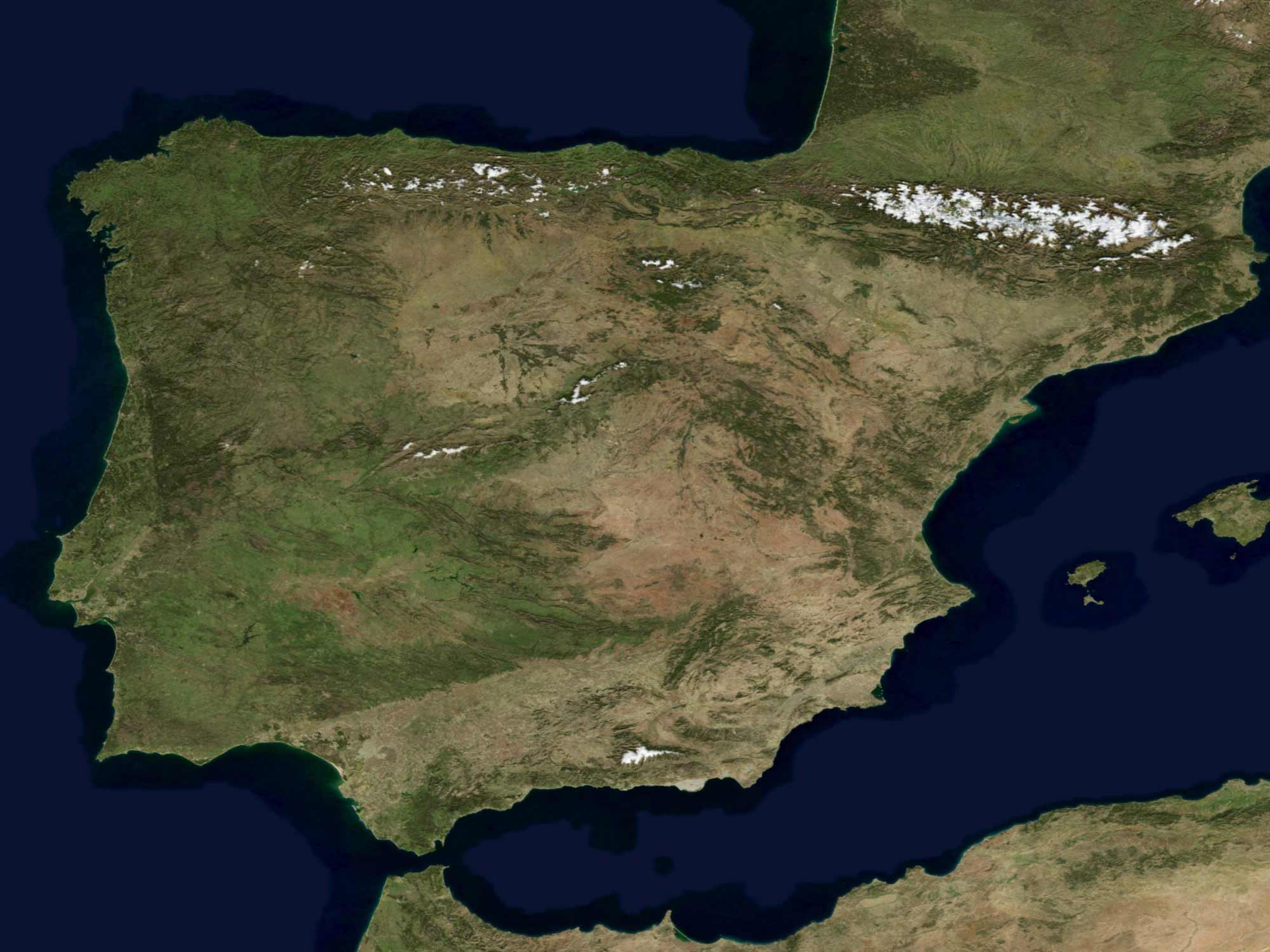 Satellite Image of Spain In January 2004 large map