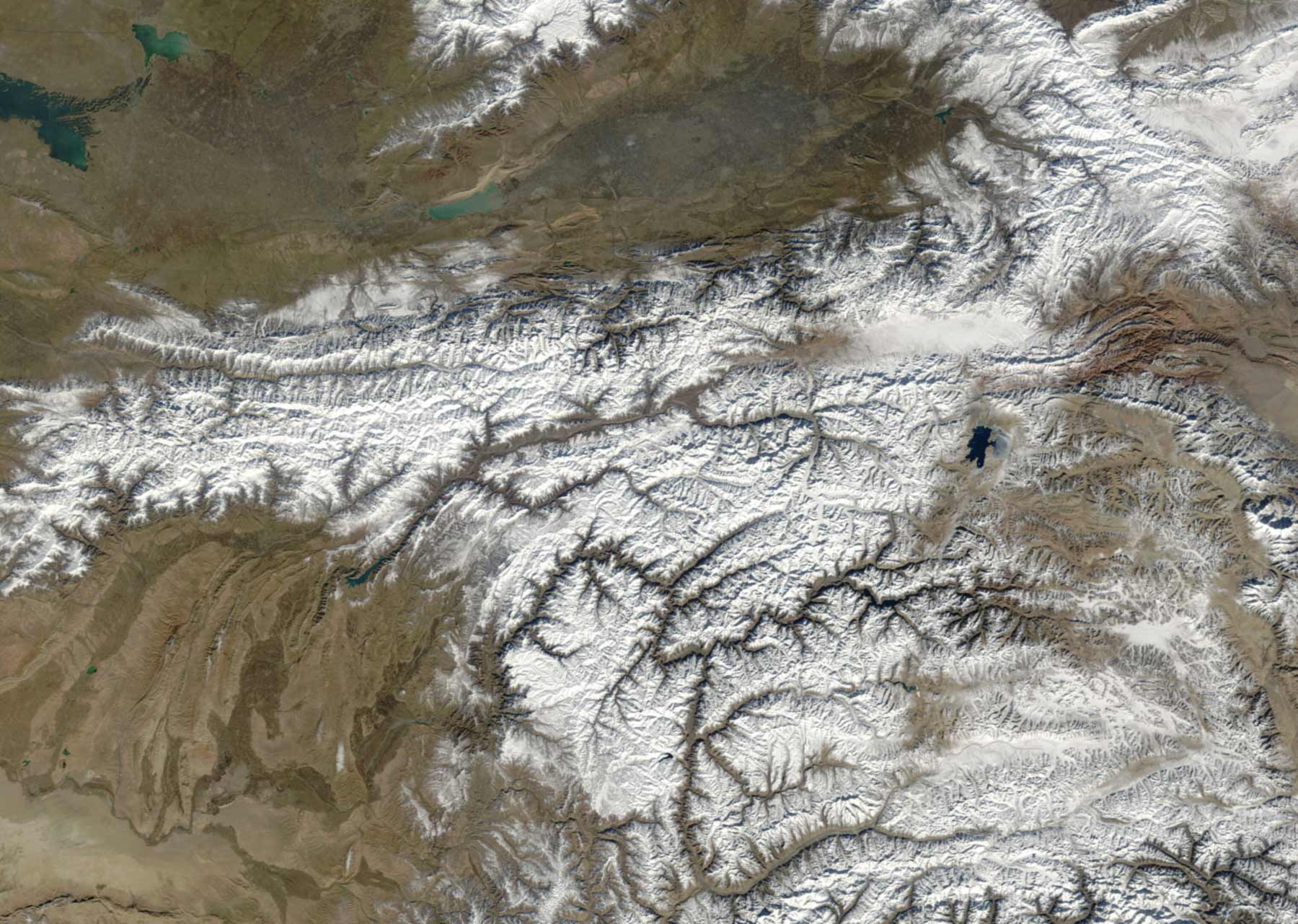 Satellite Image of Tajikistan In November 2003 large map