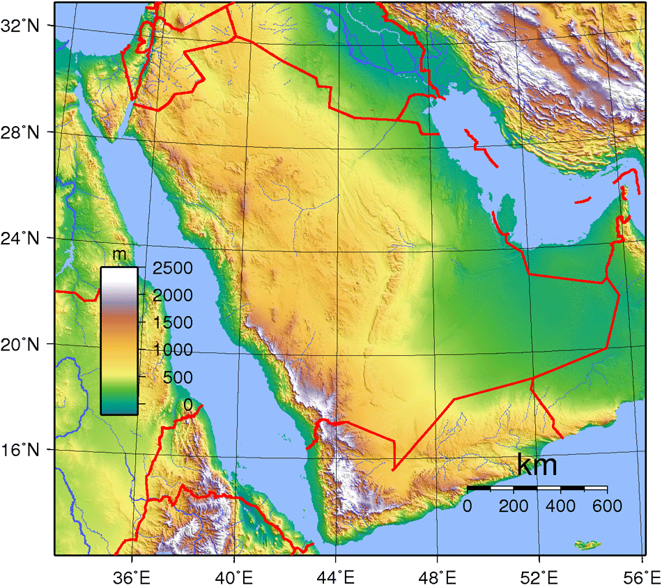 Saudi Arabia Topography large map