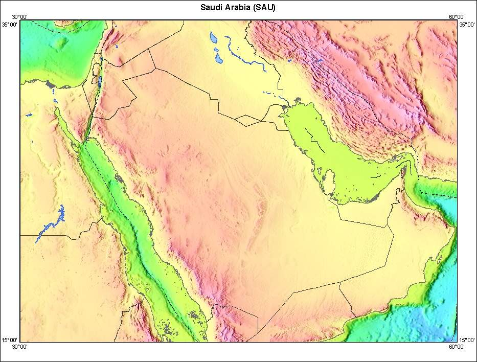 Saudia Arabia Topographic Map large map