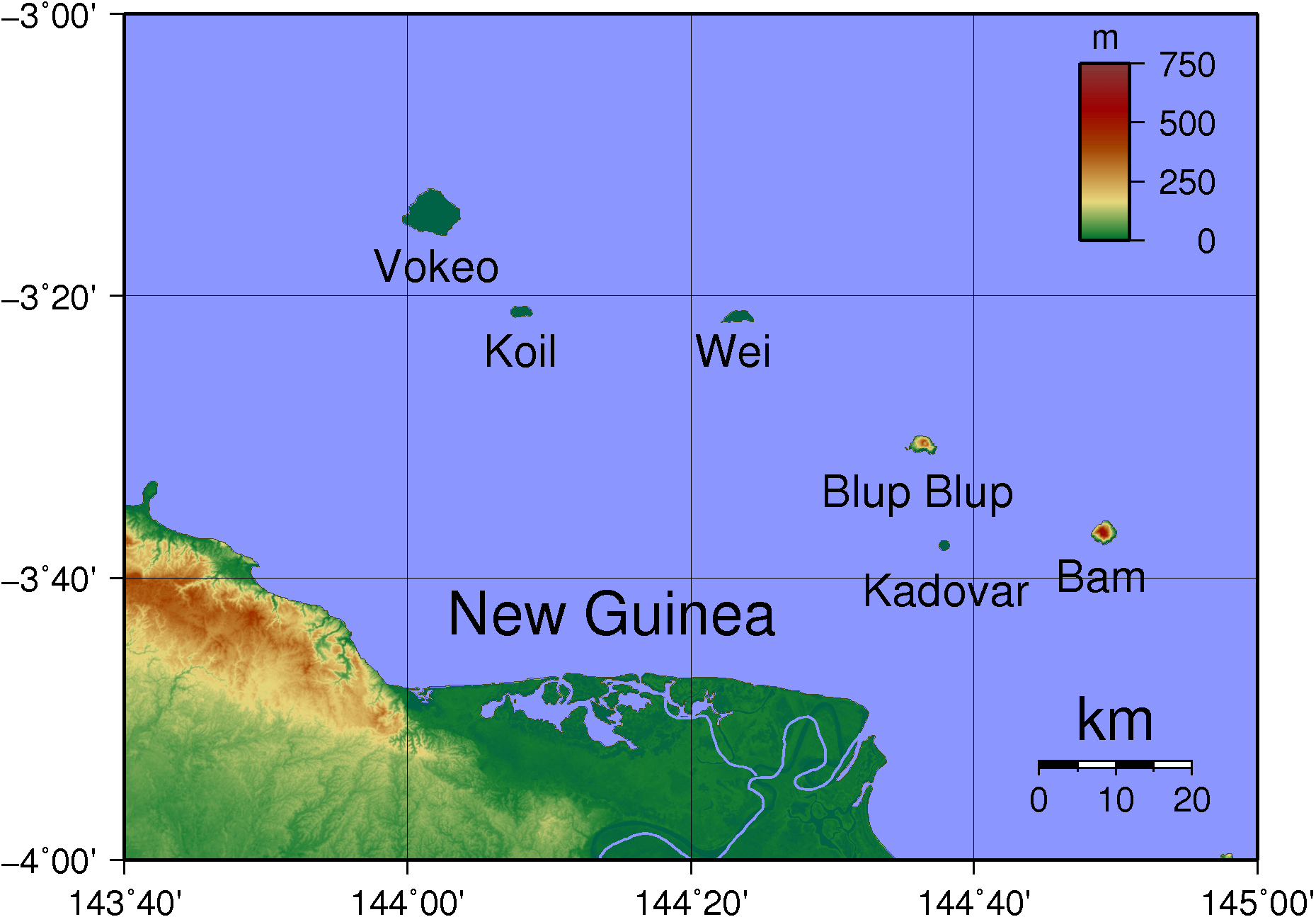 Schouten Islands (png) Topography large map