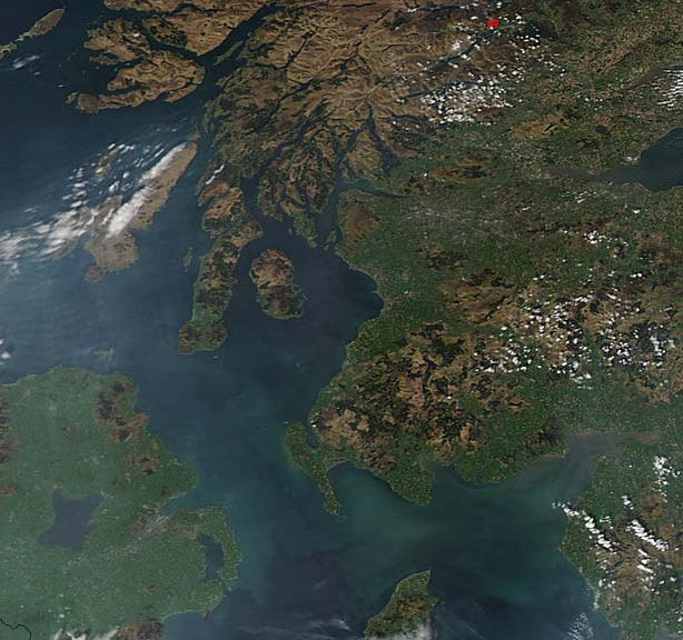 Scotlland Satellite Image large map