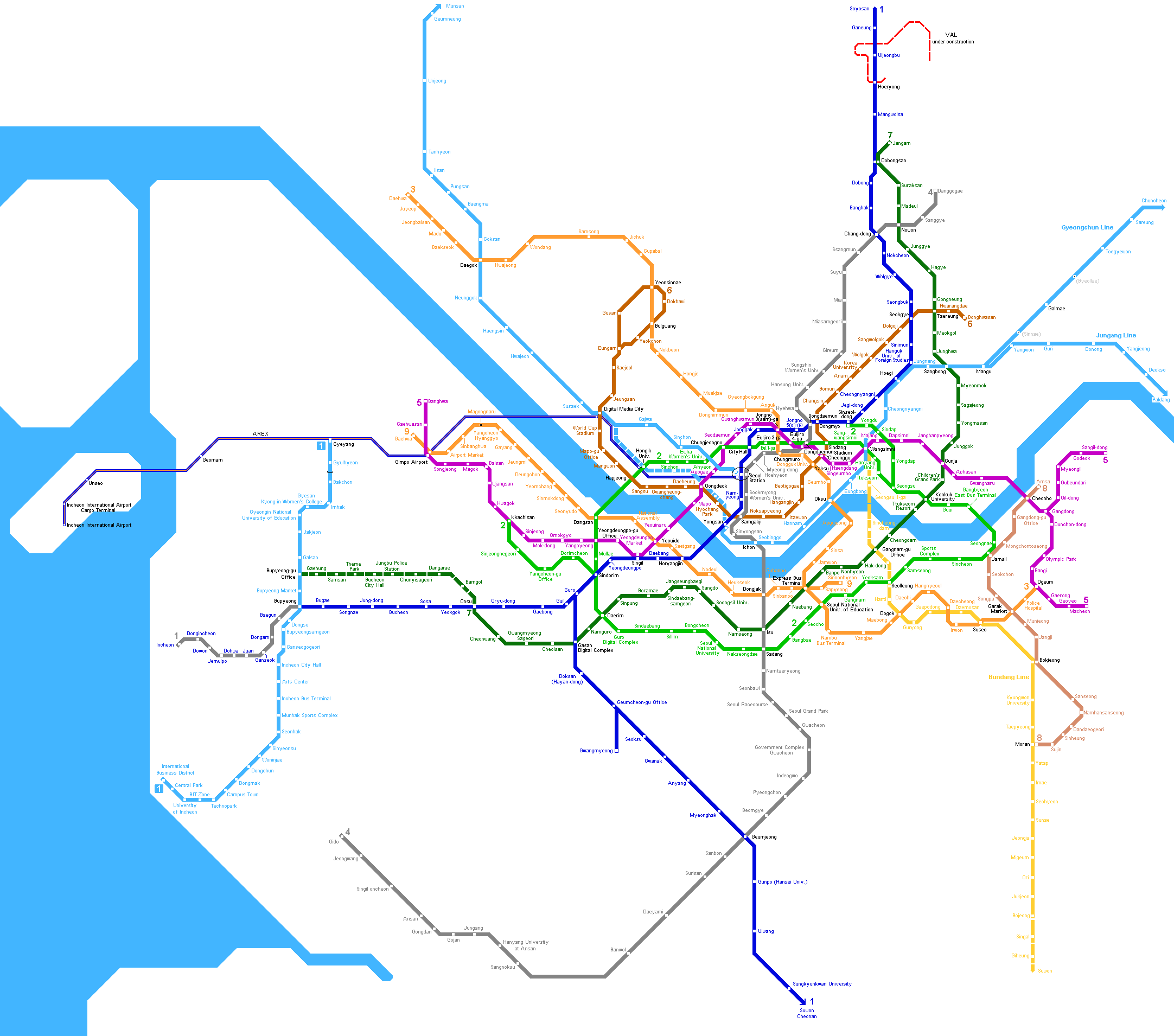 Eoul Subway Map.Seoul Metro Map Mapsof Net