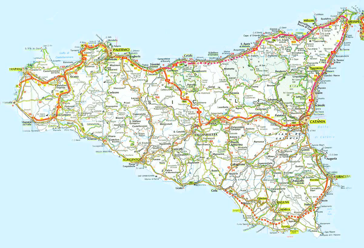 Sicily On Map Of Italy.Sicily Road Map Mapsof Net