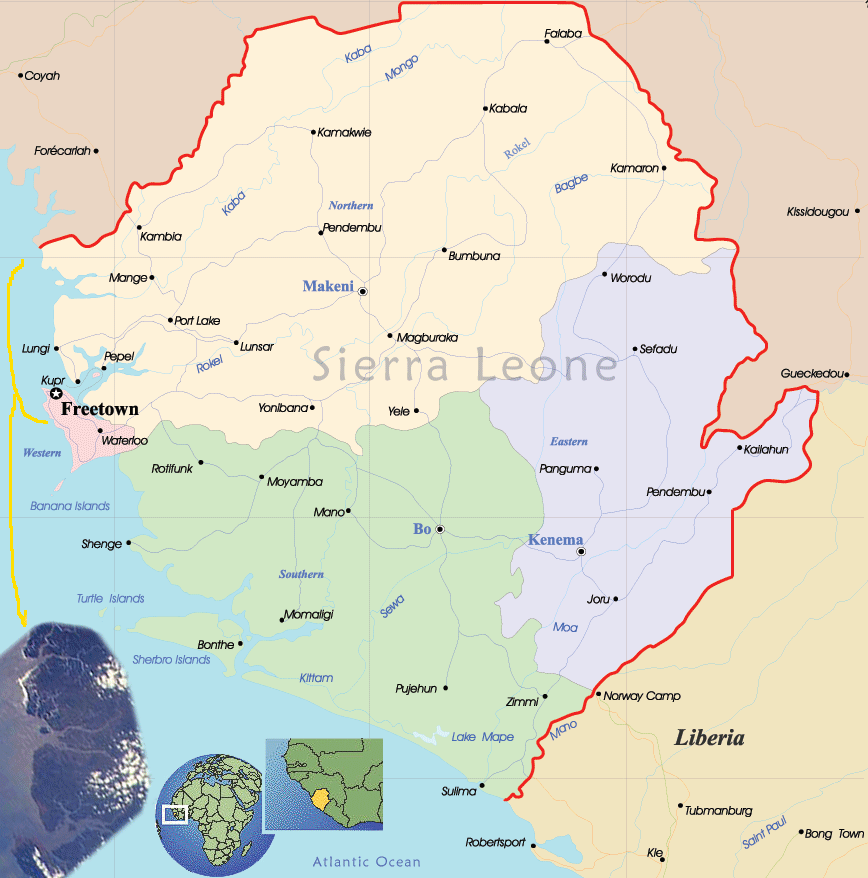 Sierra Leone Political Map large map