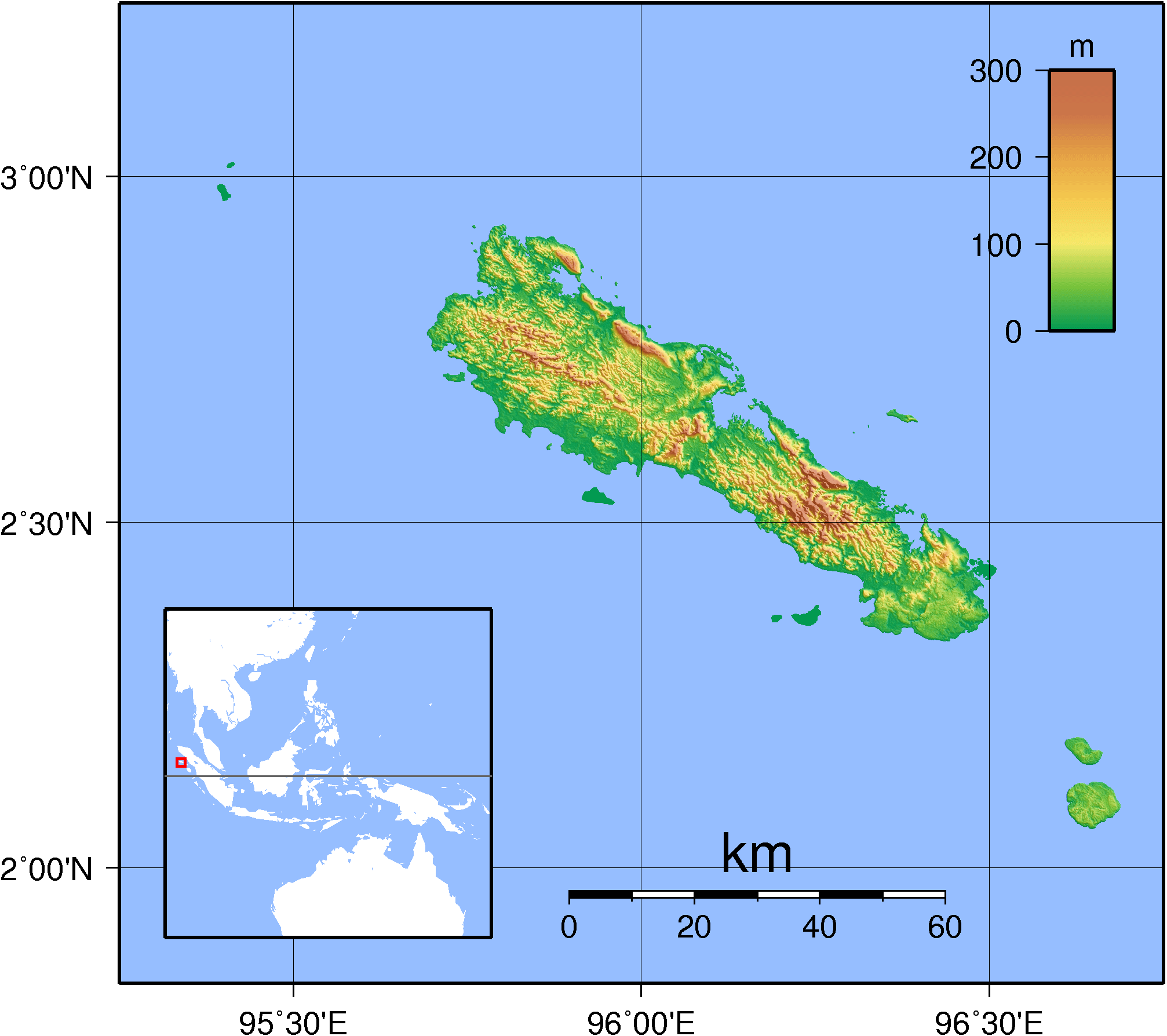 Simeulue Topography large map