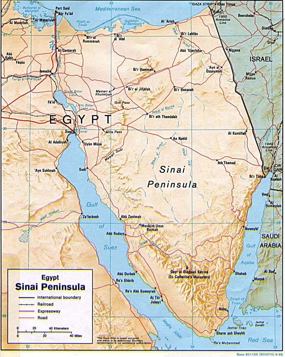 Sinai Peninsula Map large map