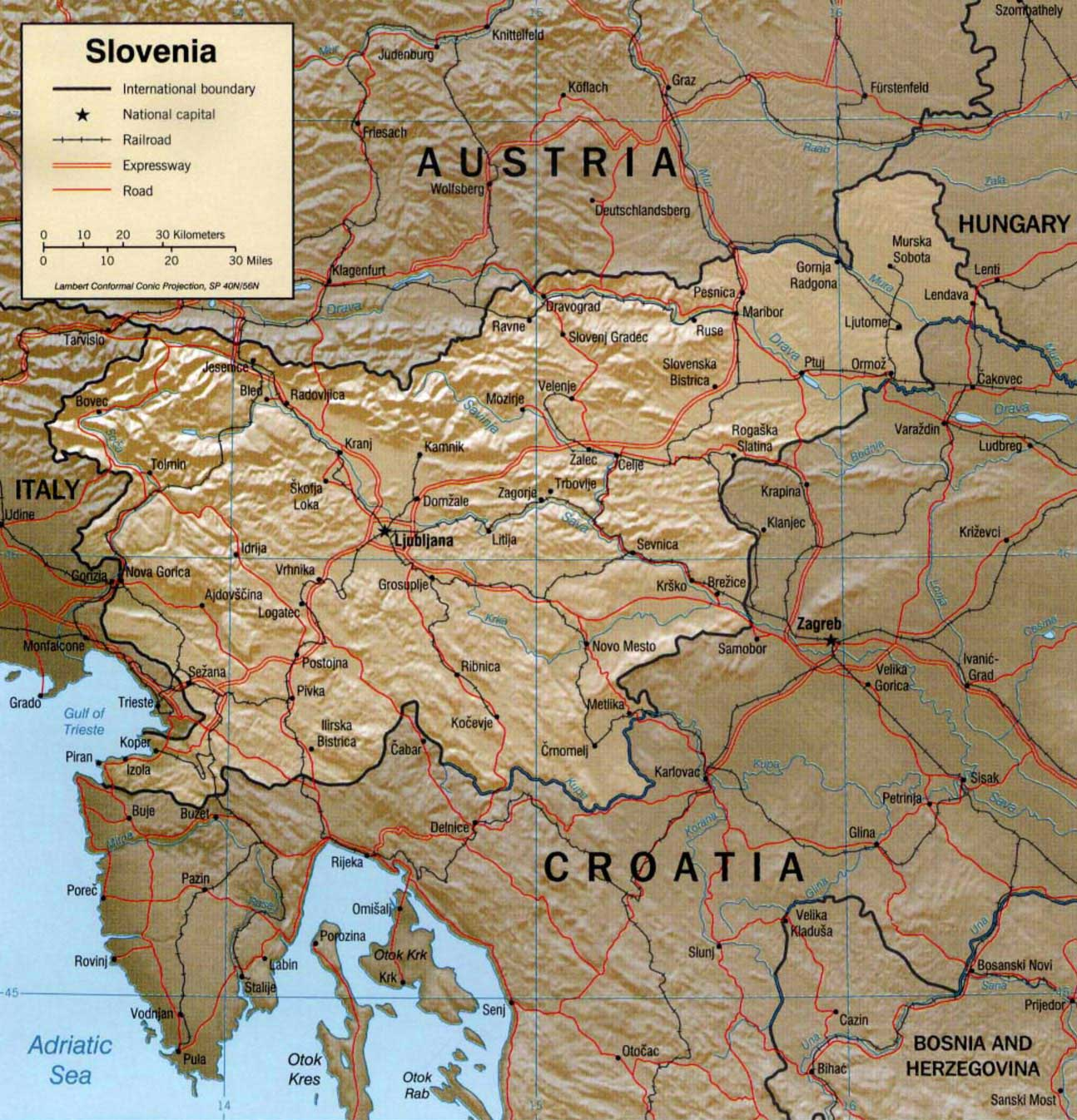 Slovenia Physical Map Mapsofnet