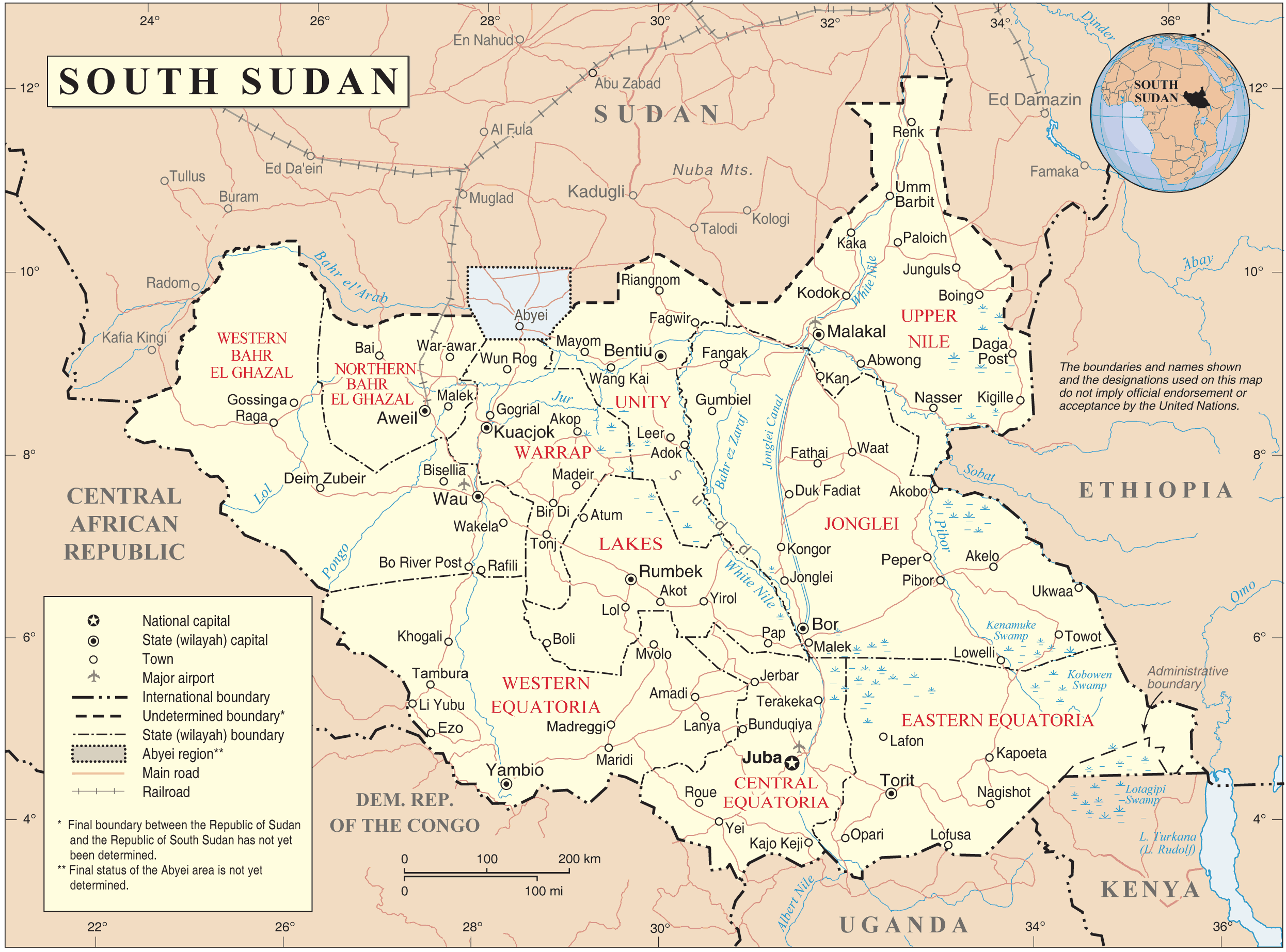 South Sudan Map 2012 large map
