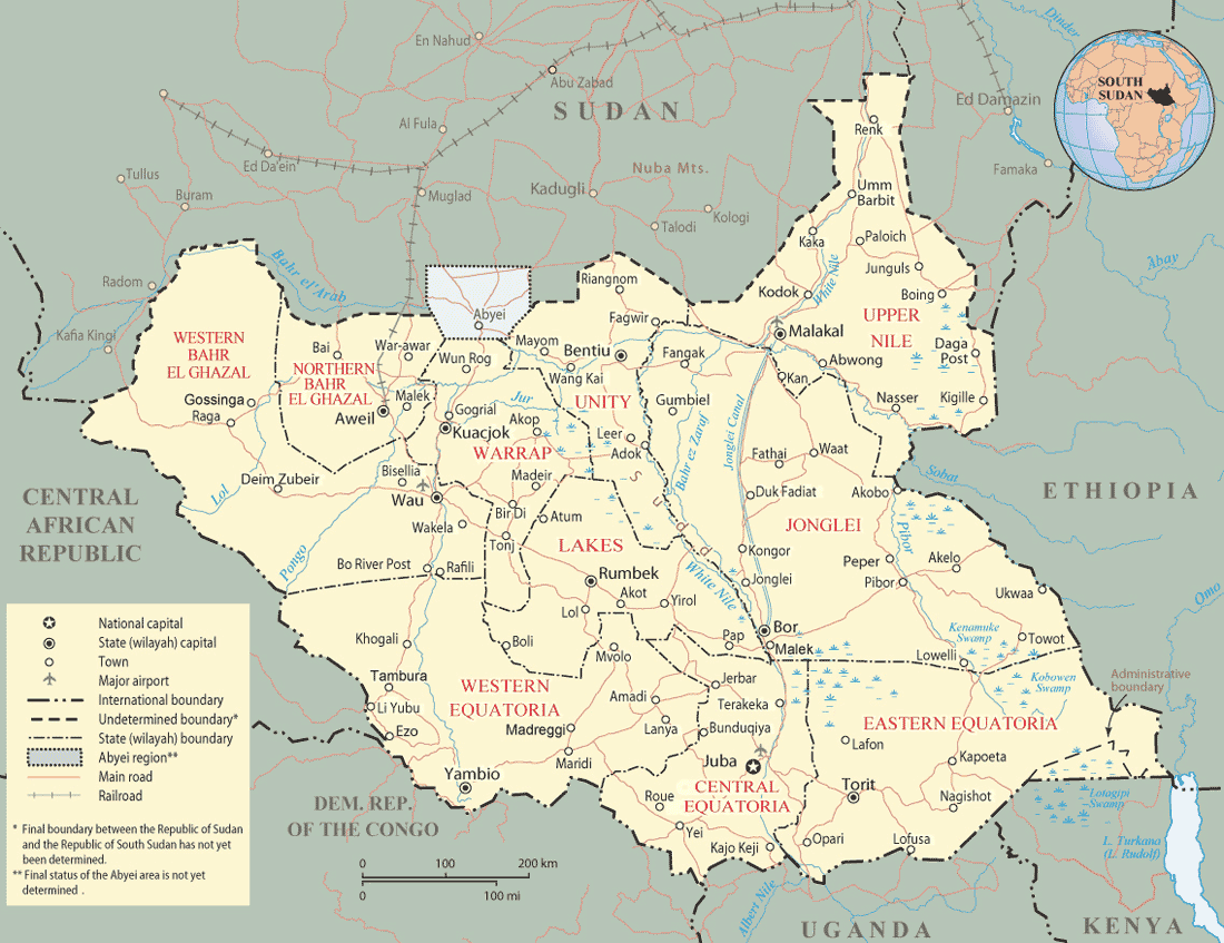 South Sudan Map States Mapsofnet