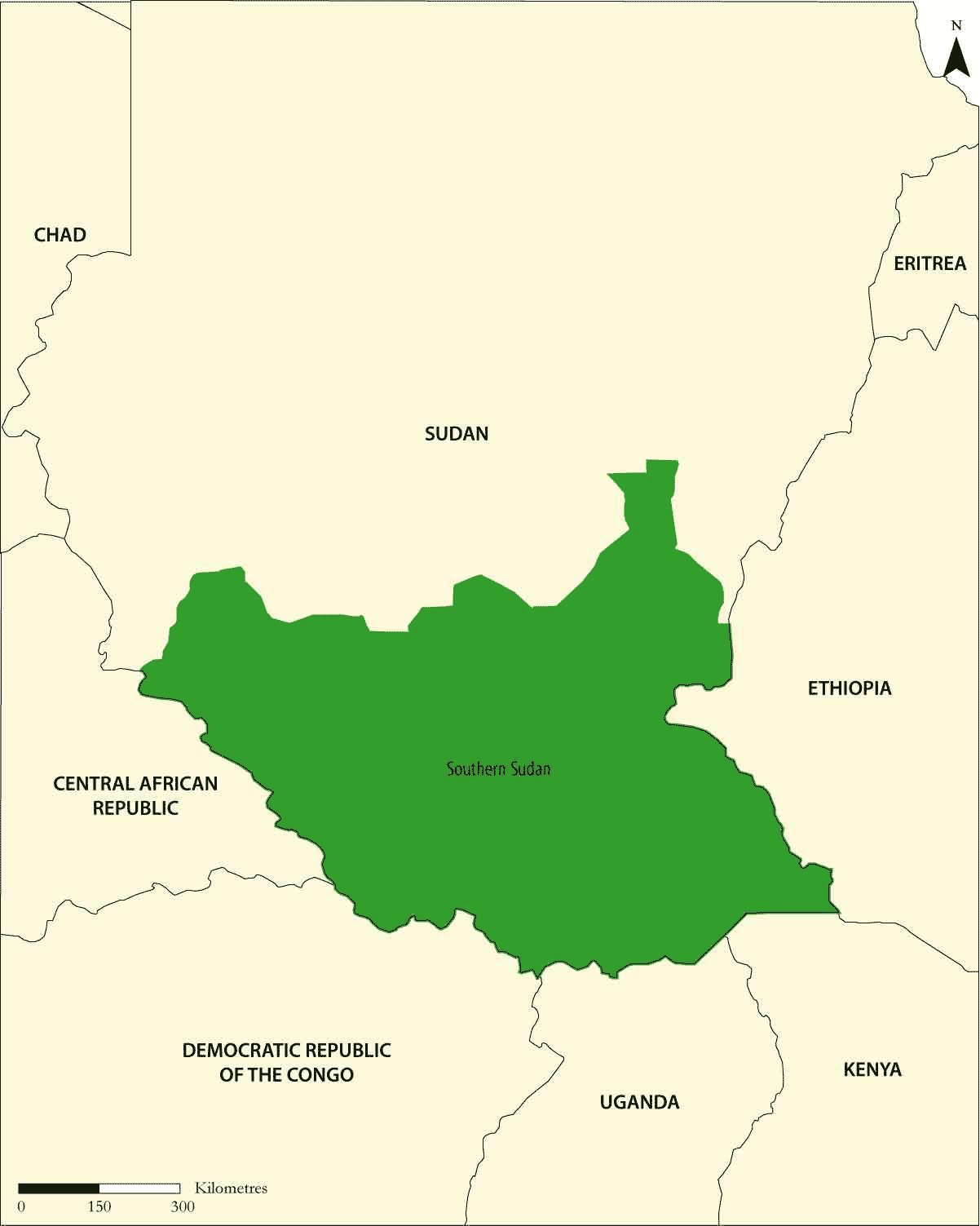 South Sudan Neighbours large map