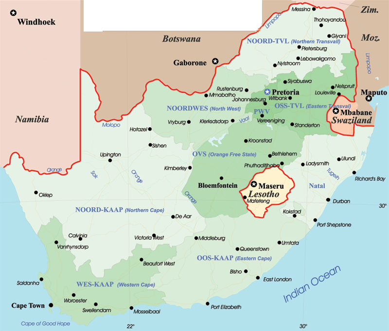 South Africa Political Map large map