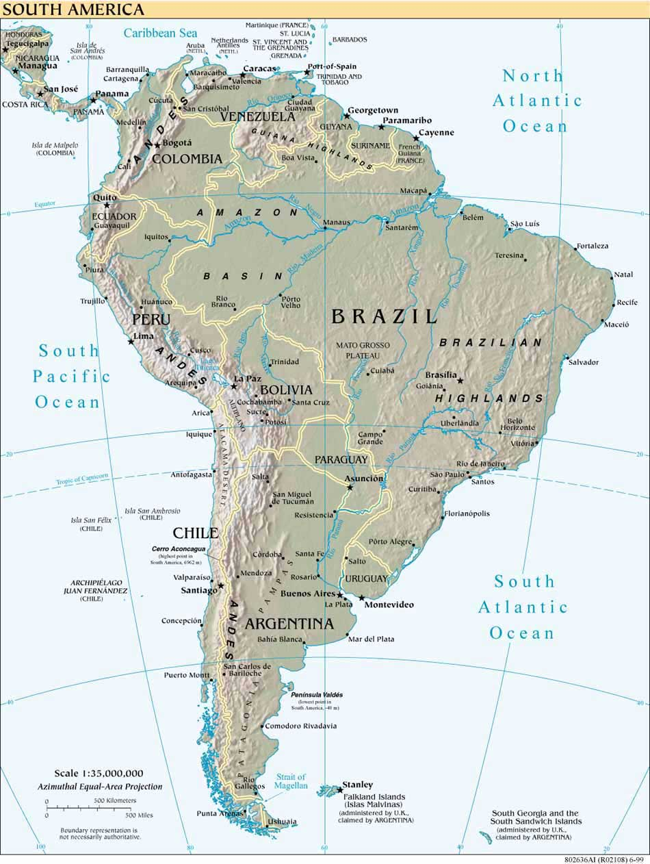 South America large map