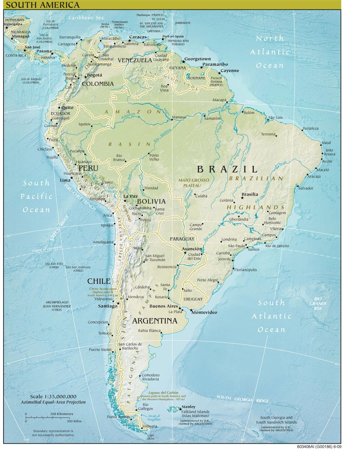 South America Continent Physical Map large map