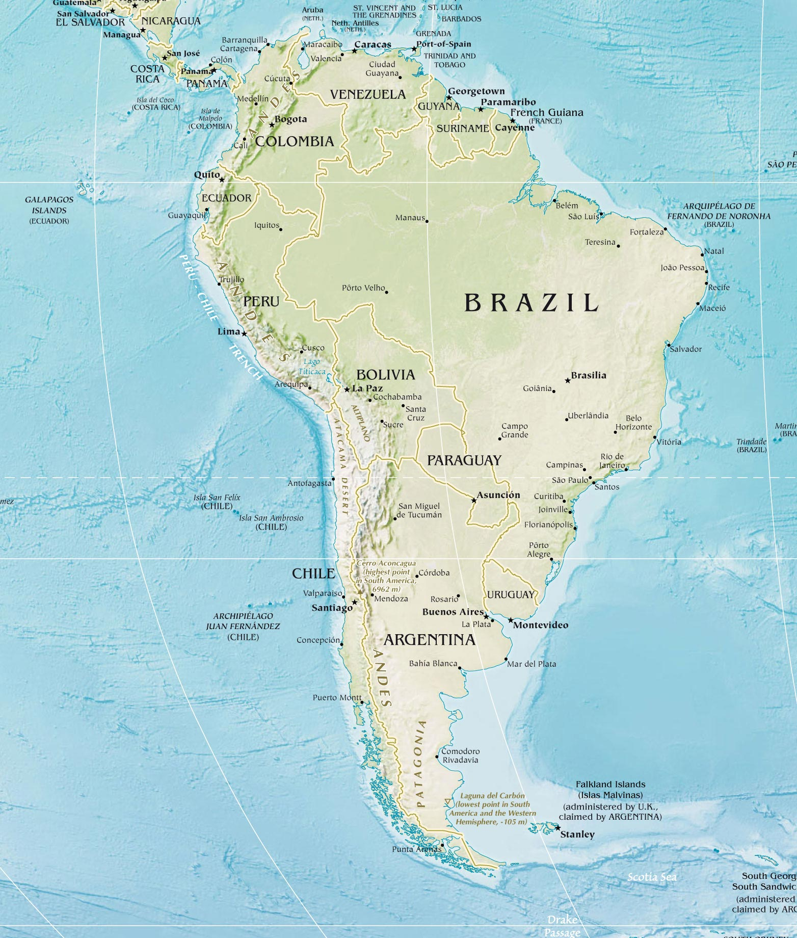 South America Physical Map 2 large map
