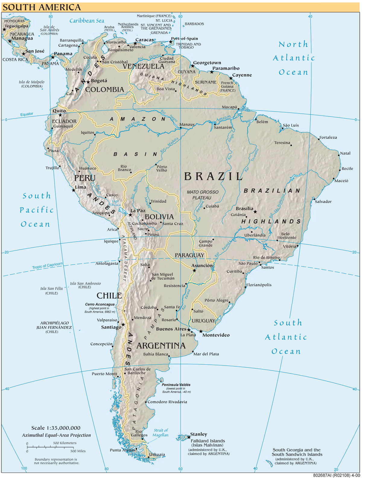 South America Reference Map Mapsofnet