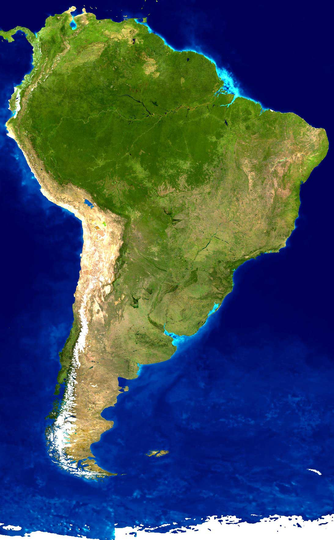 South America Satellite Image large map
