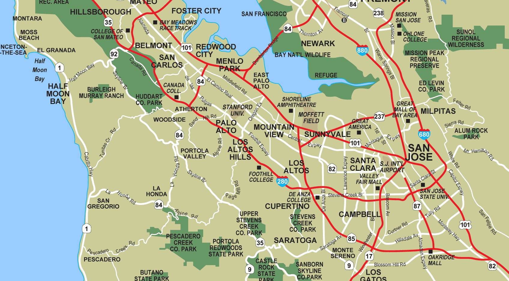 South Bay Palo Alto Mapsofnet