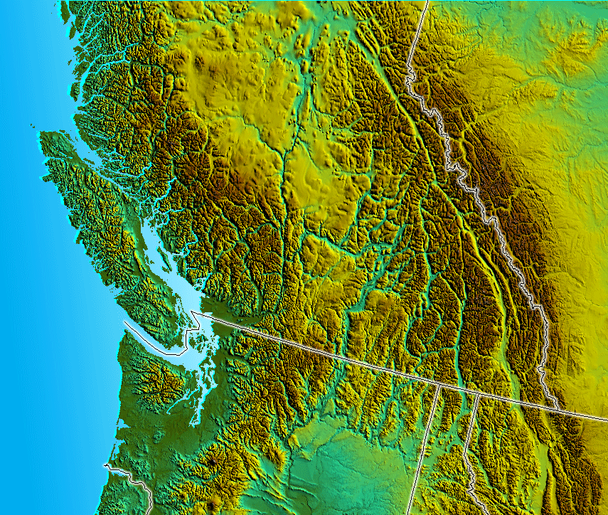 South Bc Nw Usa Relief large map