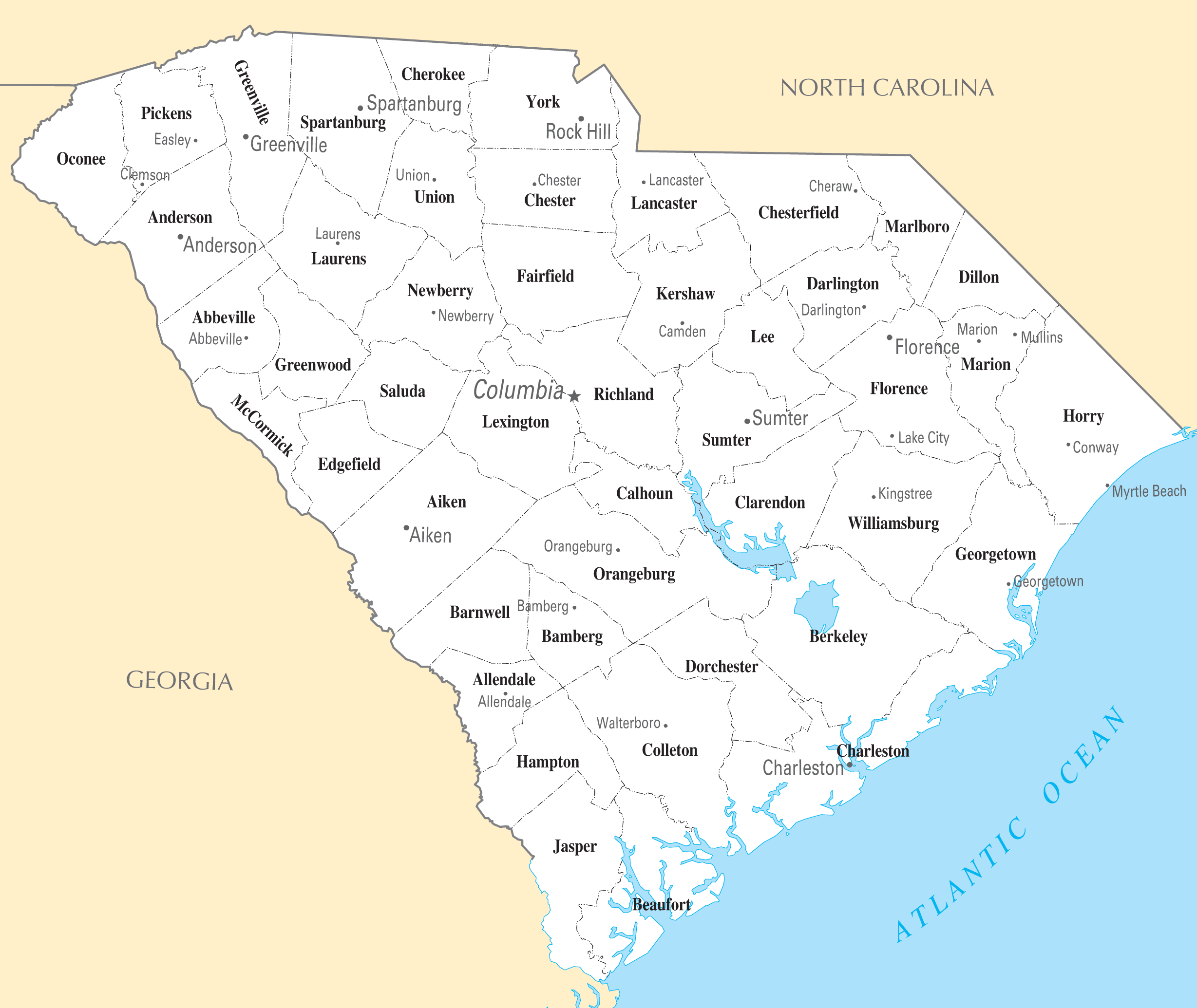 South Carolina Cities And Towns  Mapsof