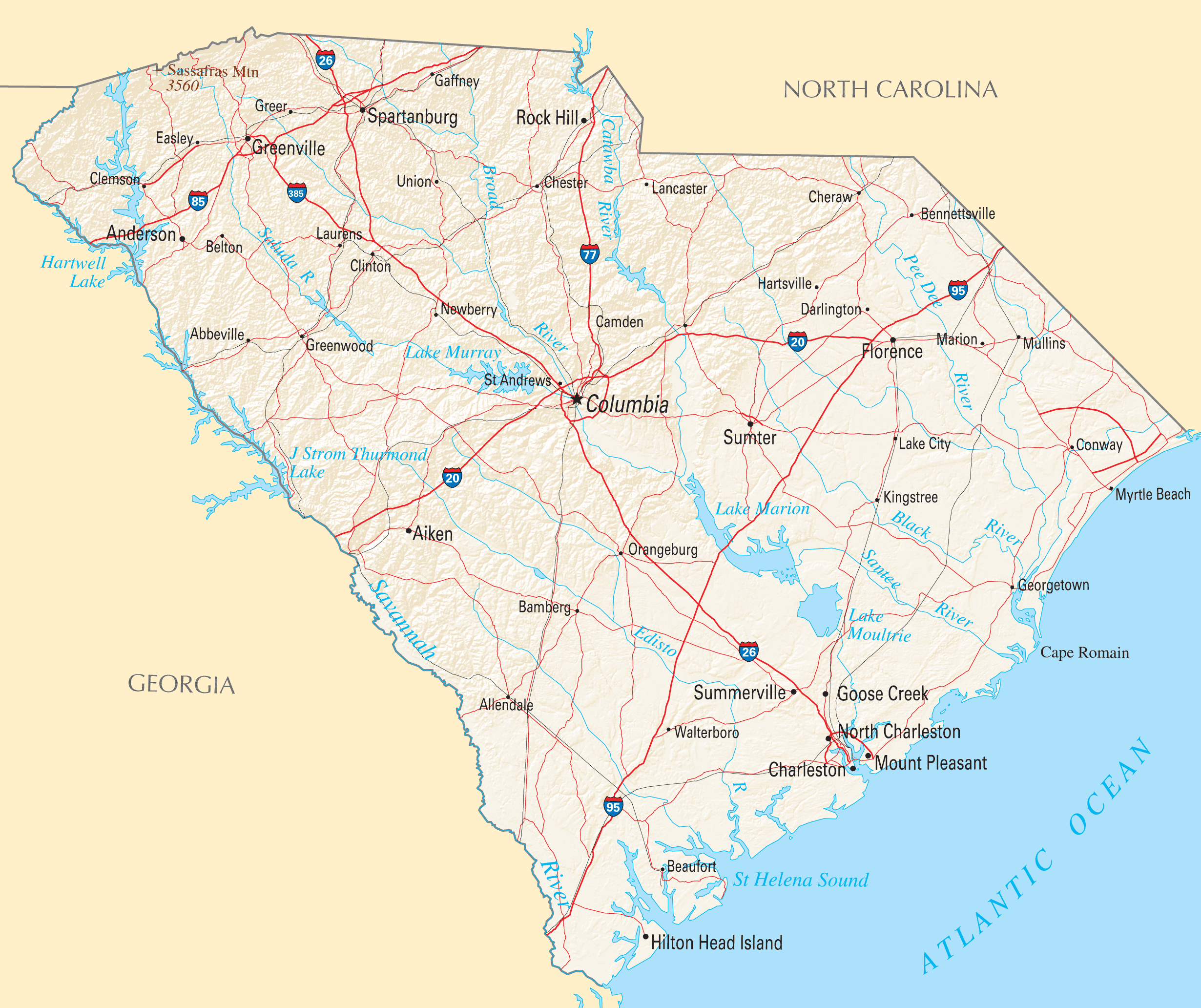 South Carolina Reference Map Mapsofnet