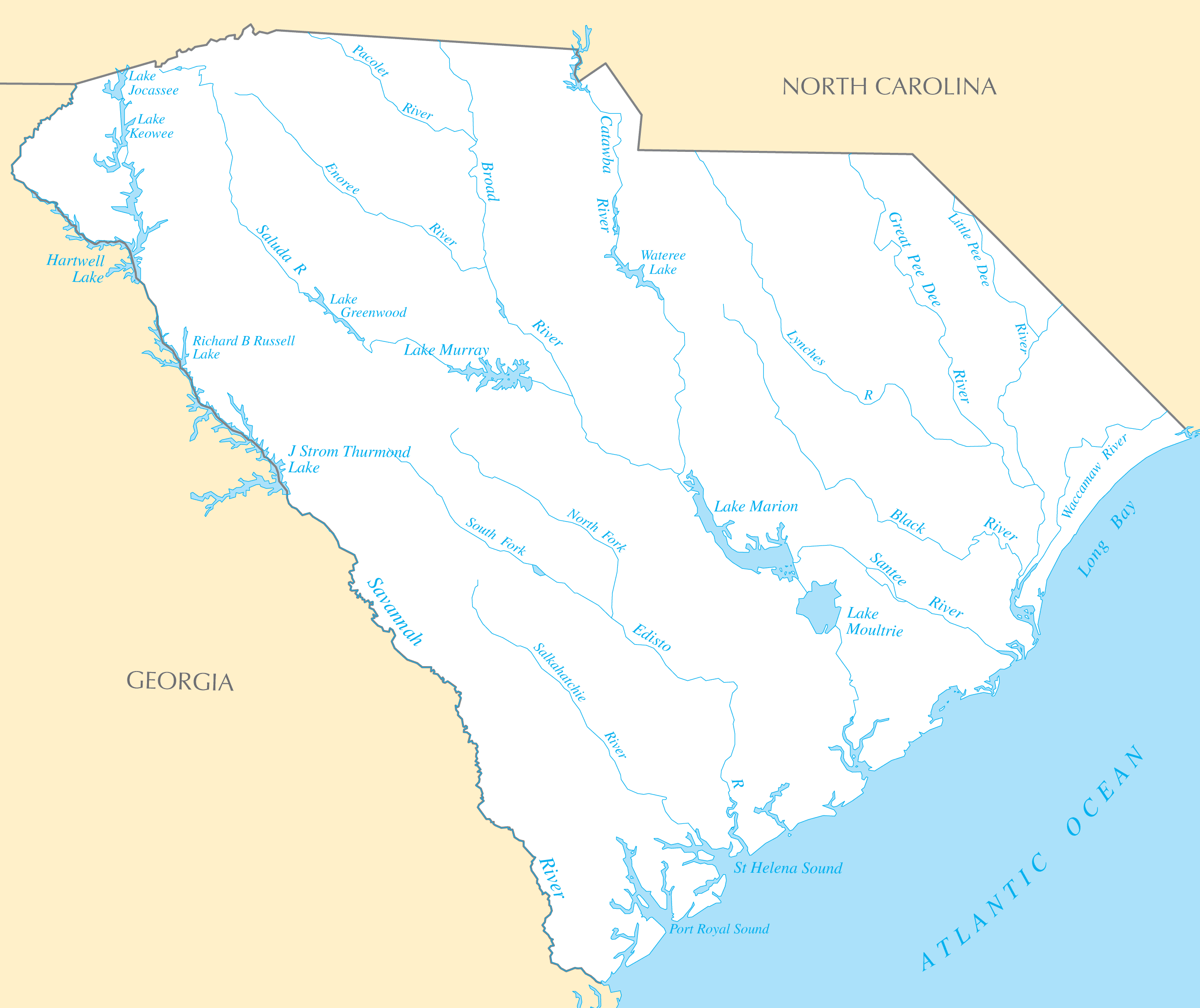 South Carolina Rivers And Lakes large map