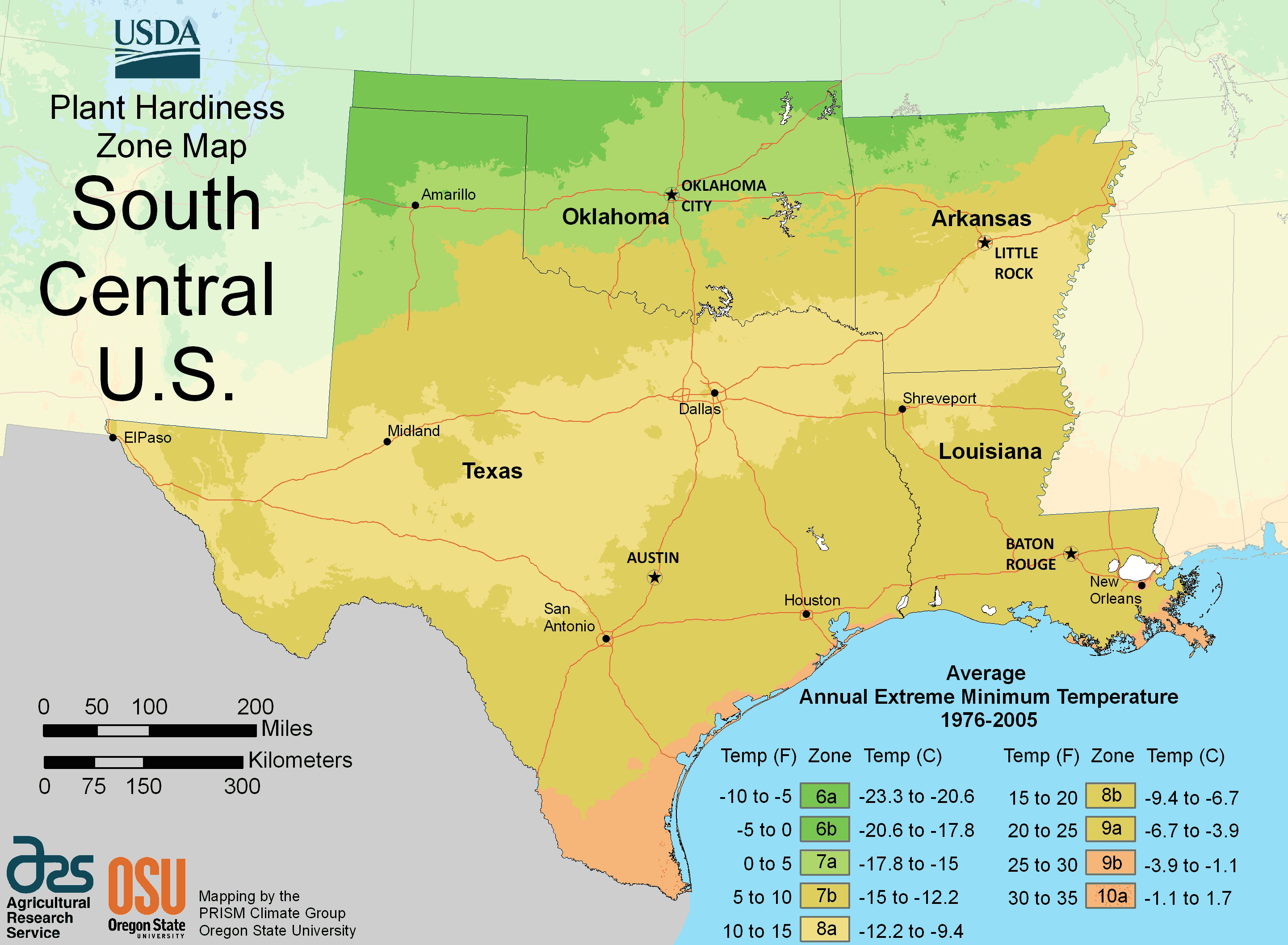 South Central Us Plant Hardiness Zone Map  Mapsofnet - Us state map large