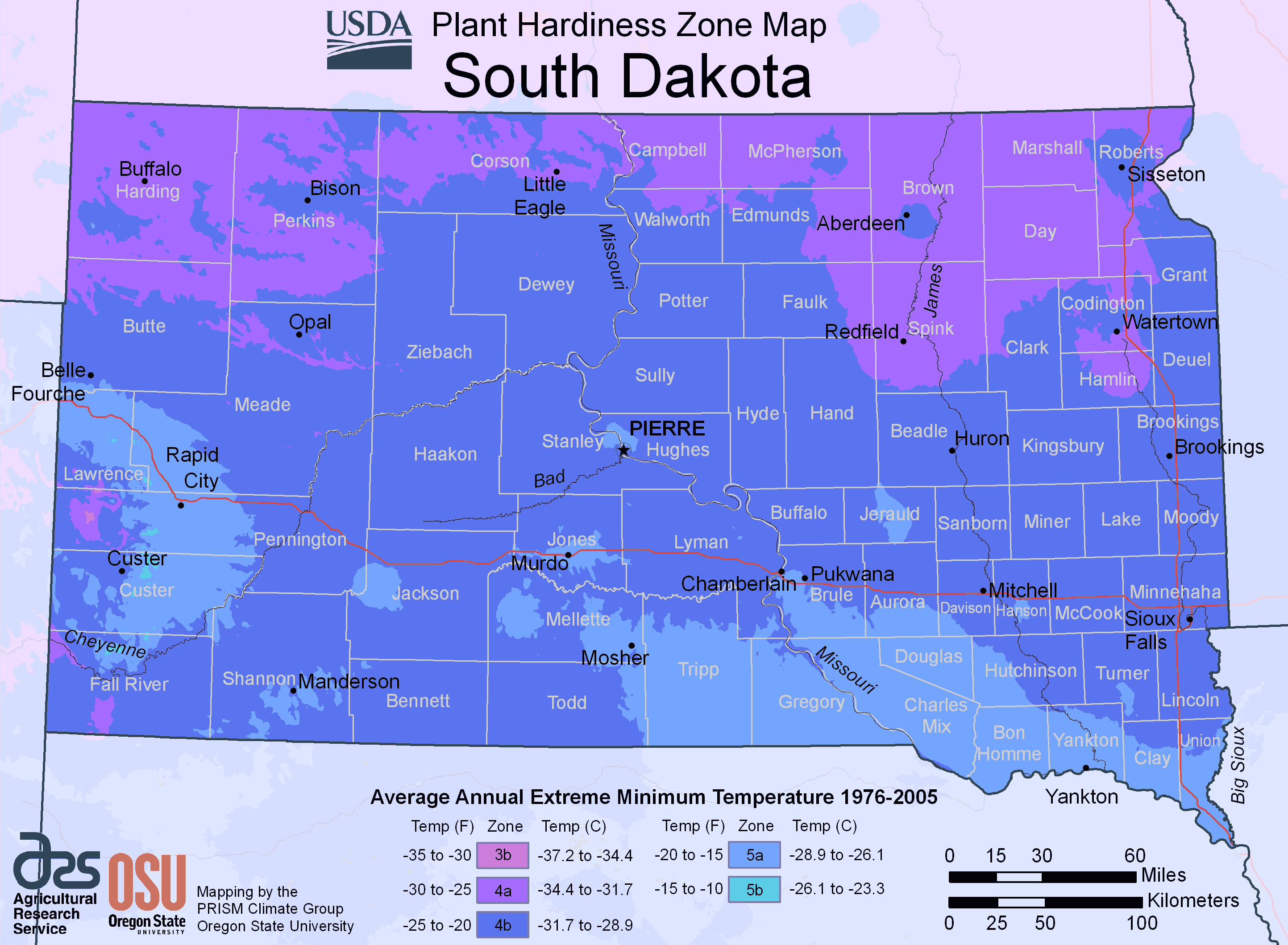 South Dakota Plant Hardiness Zone Map large map