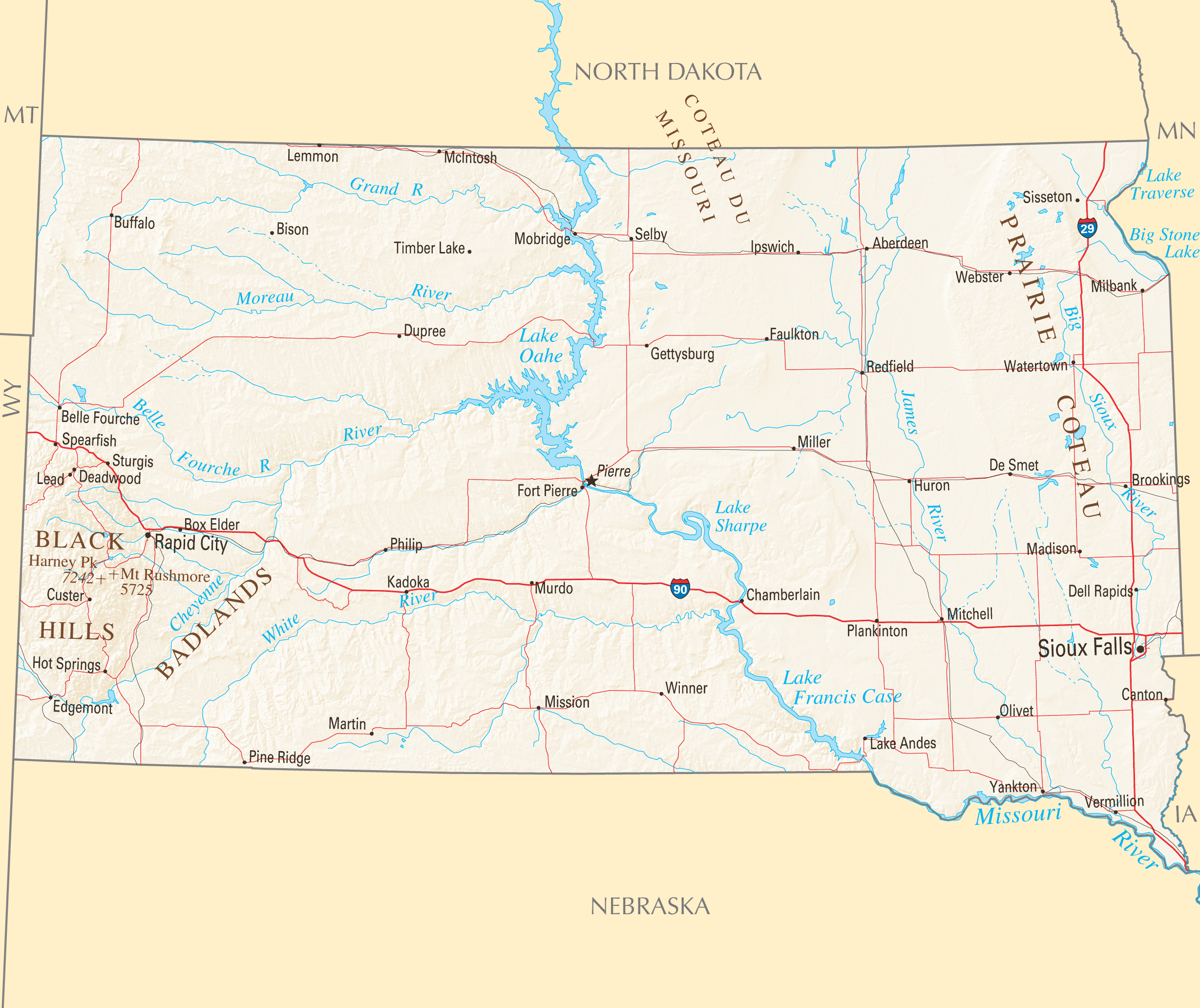 South Dakota Reference Map large map