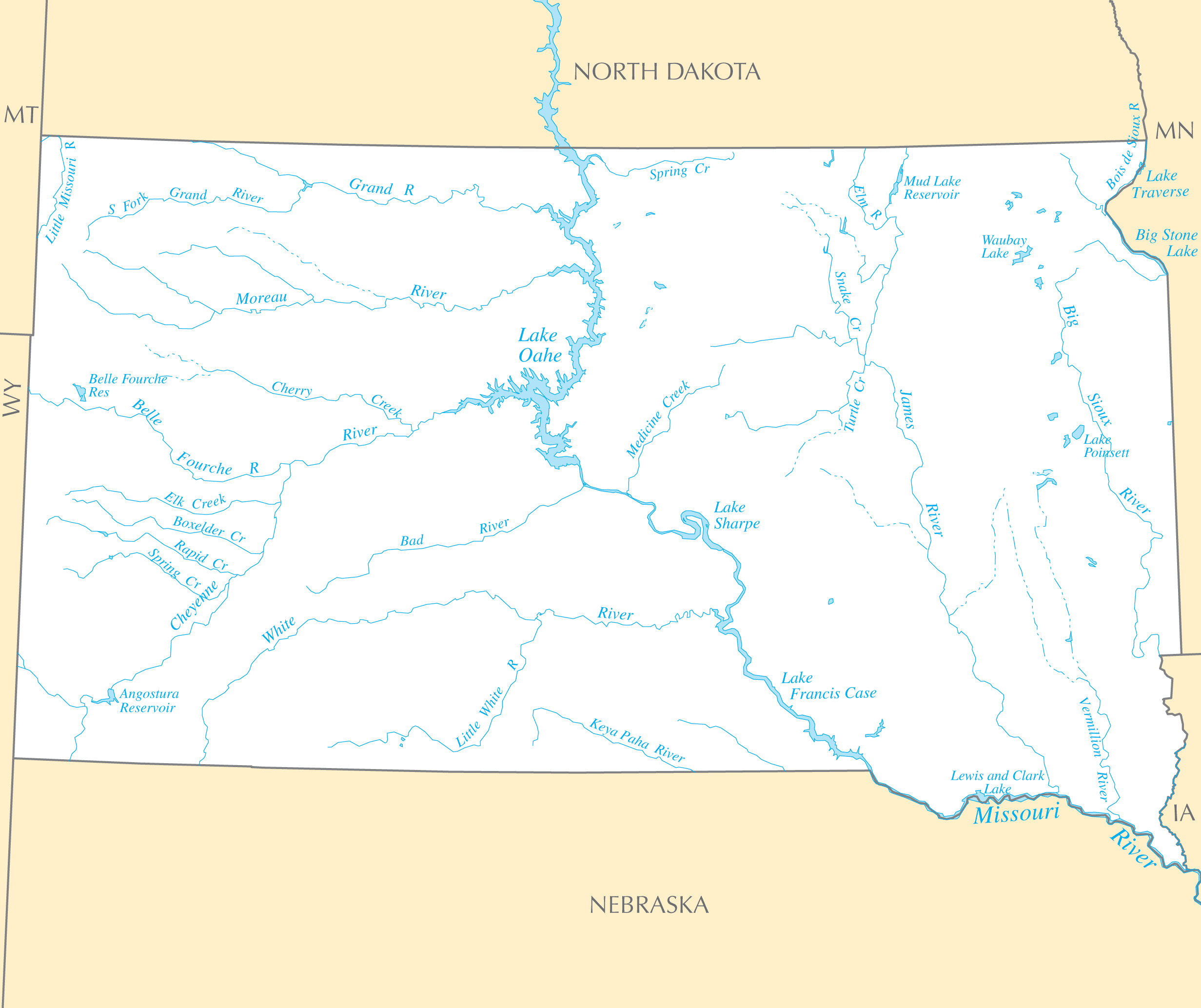 South Dakota Rivers And Lakes large map