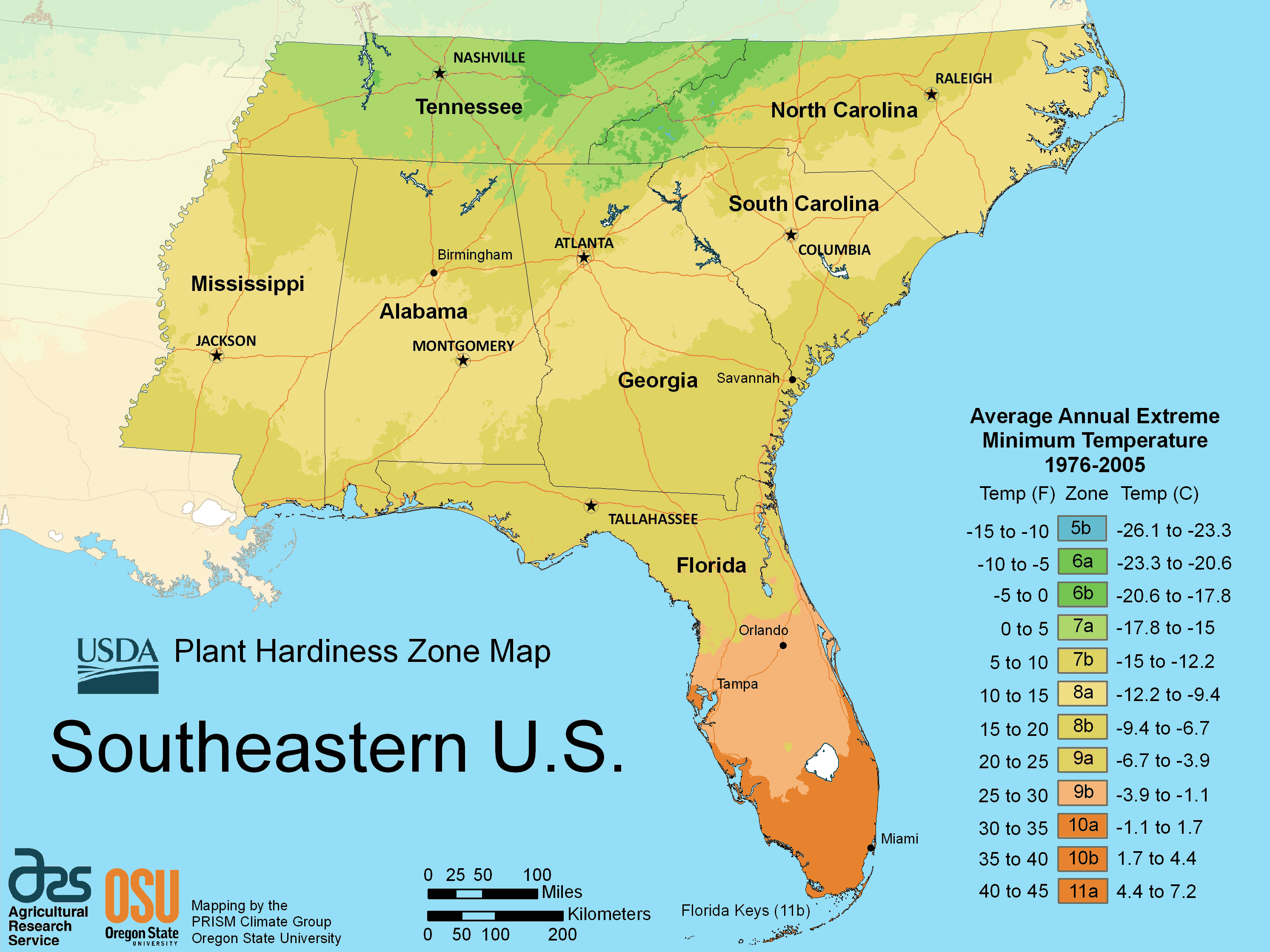 click on the south east us plant hardiness zone map