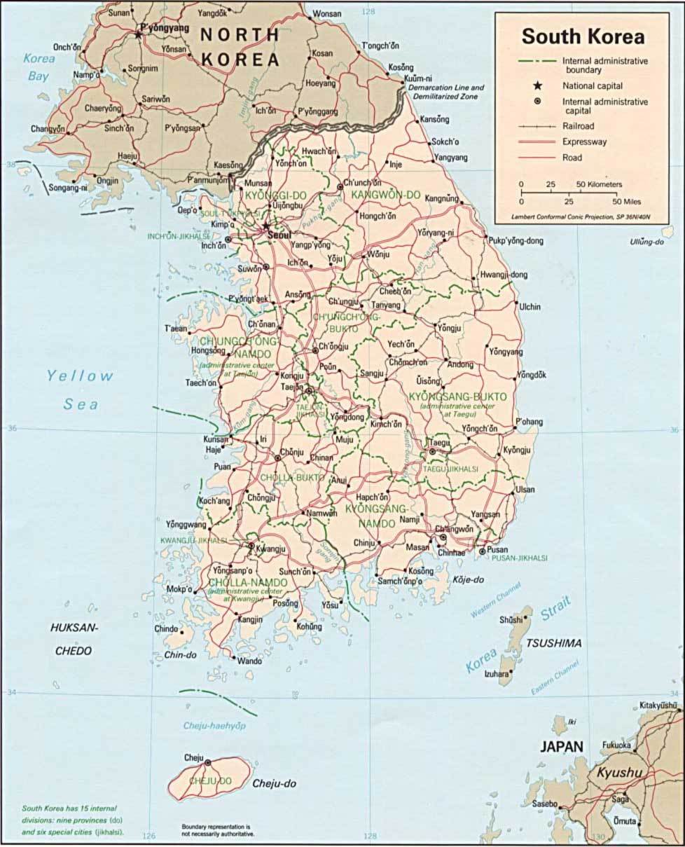 South Korea Political Map With Shaded Relief large map