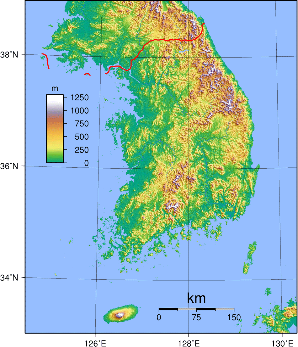 South Korea Topography large map