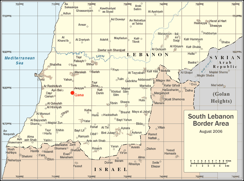 South Lebanon Qana Locator Map large map