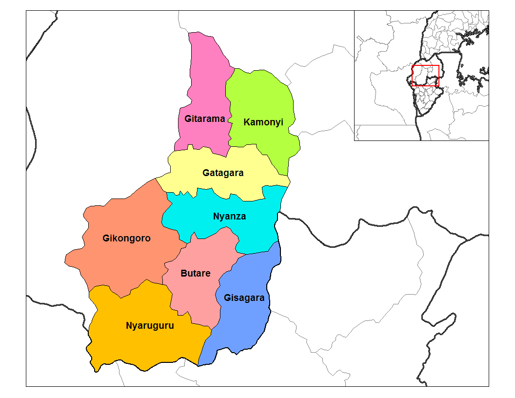 South Province Districts large map