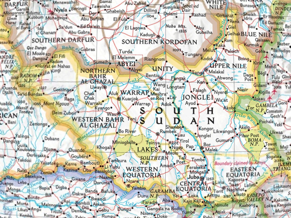 South Sudan large map
