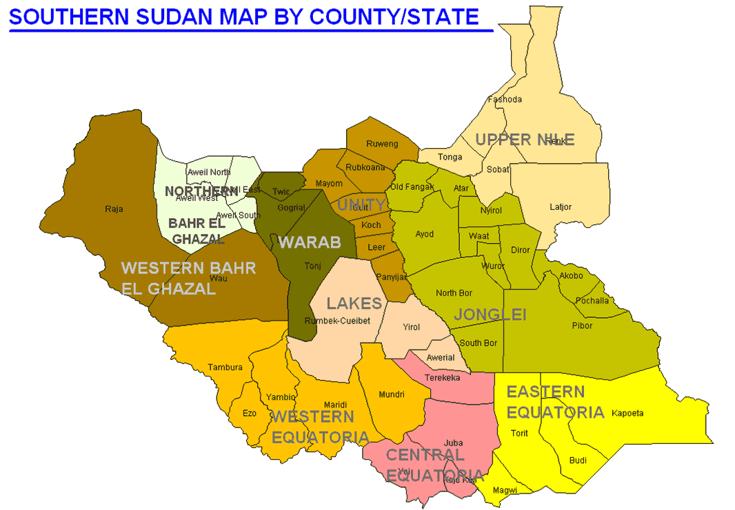 South Sudan Map States large map