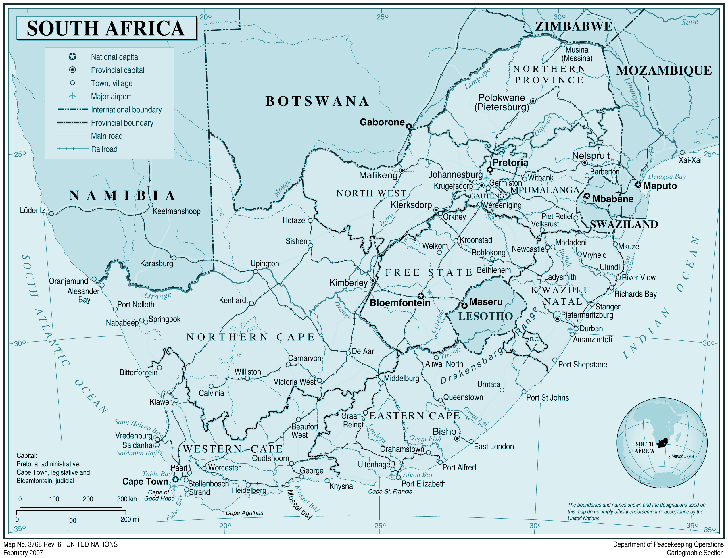Southafrica large map