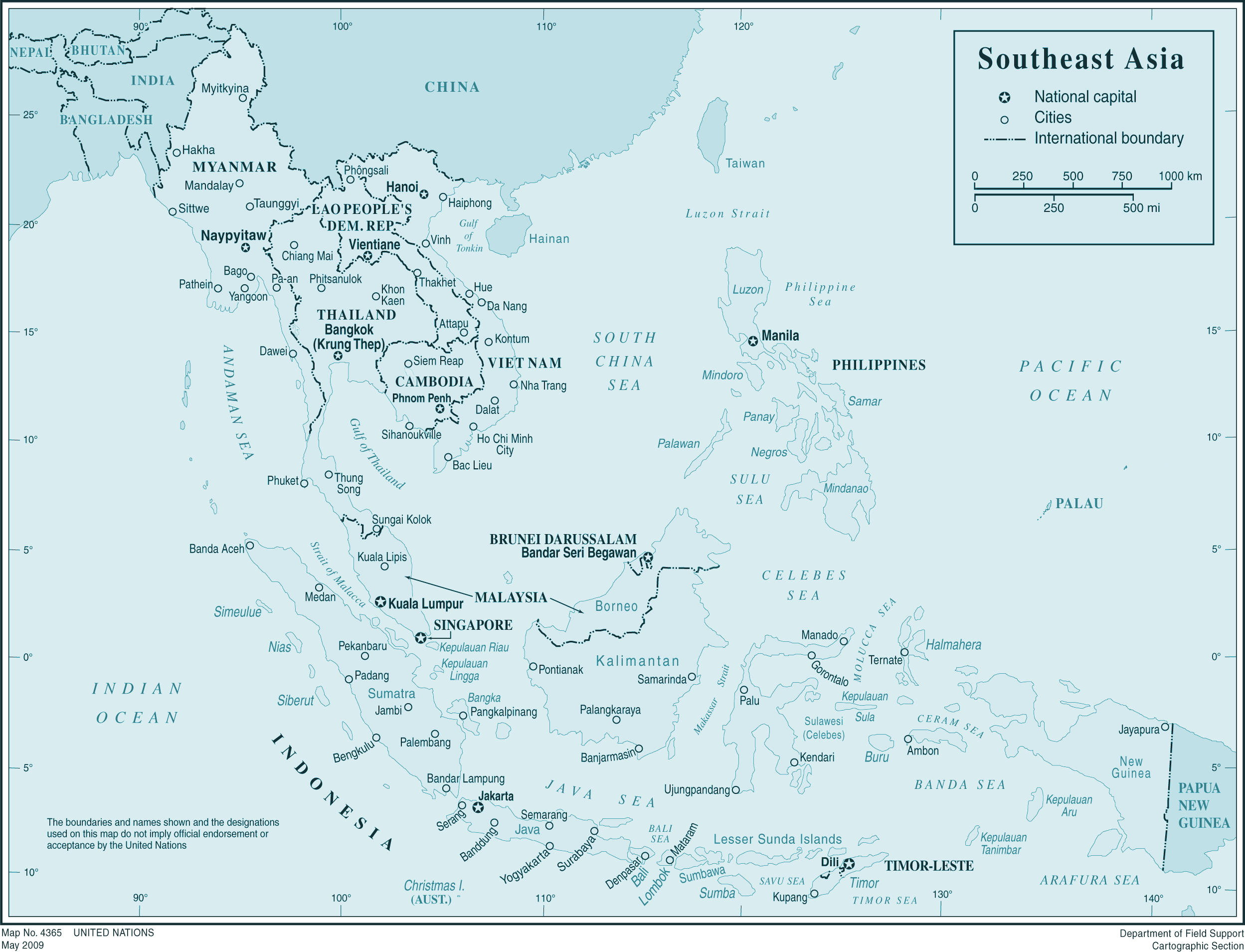 Southeast Asia 1 large map