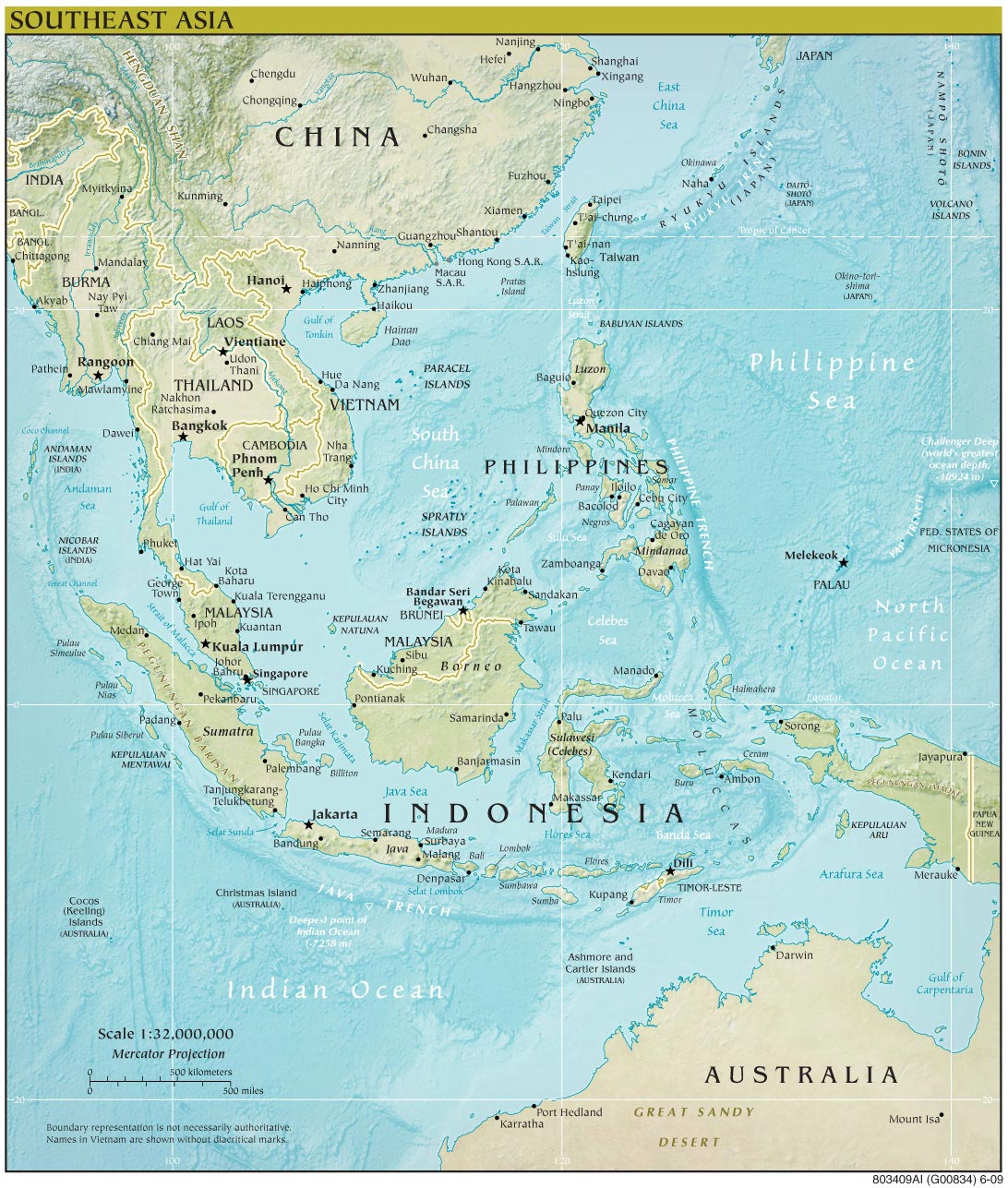 Southeast Asia Map Physical 112