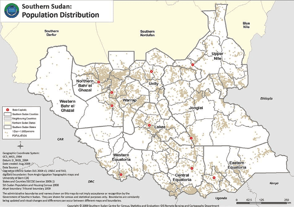Southern Sudan Population Distribution large map