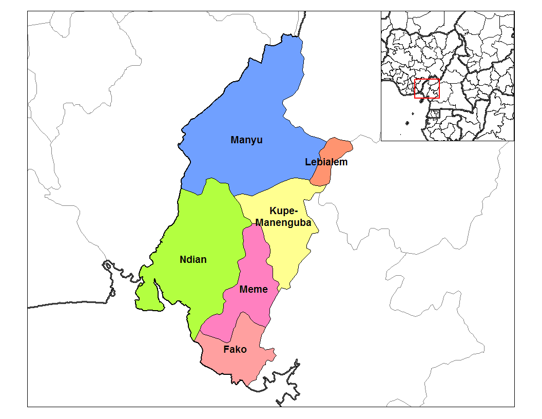 Southwest Cameroon Divisions large map