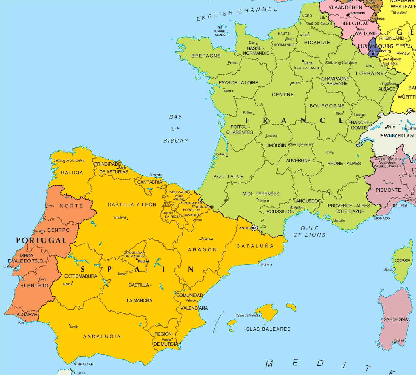 Map of france and spain together travel map of france and spain together gumiabroncs Choice Image