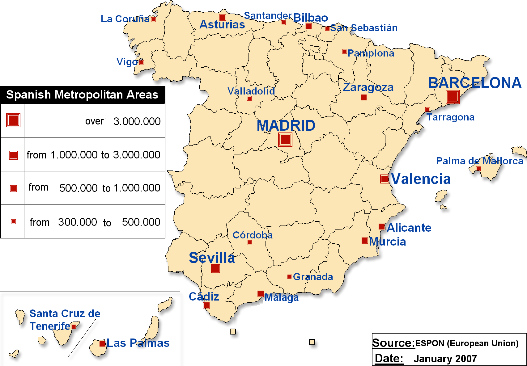 Spanish Metropolitan Areas Map large map