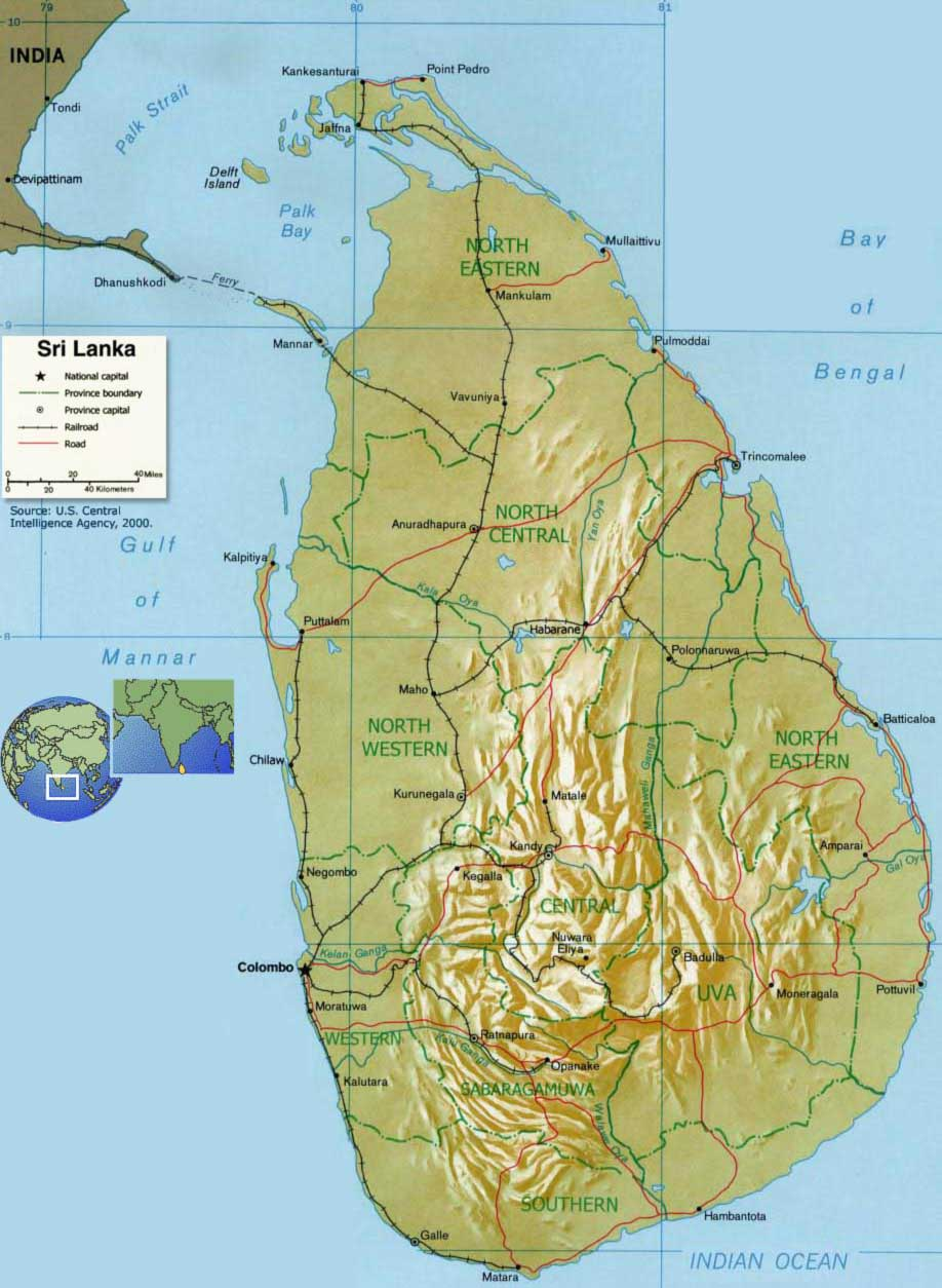 Sri Lanka Relief Map large map