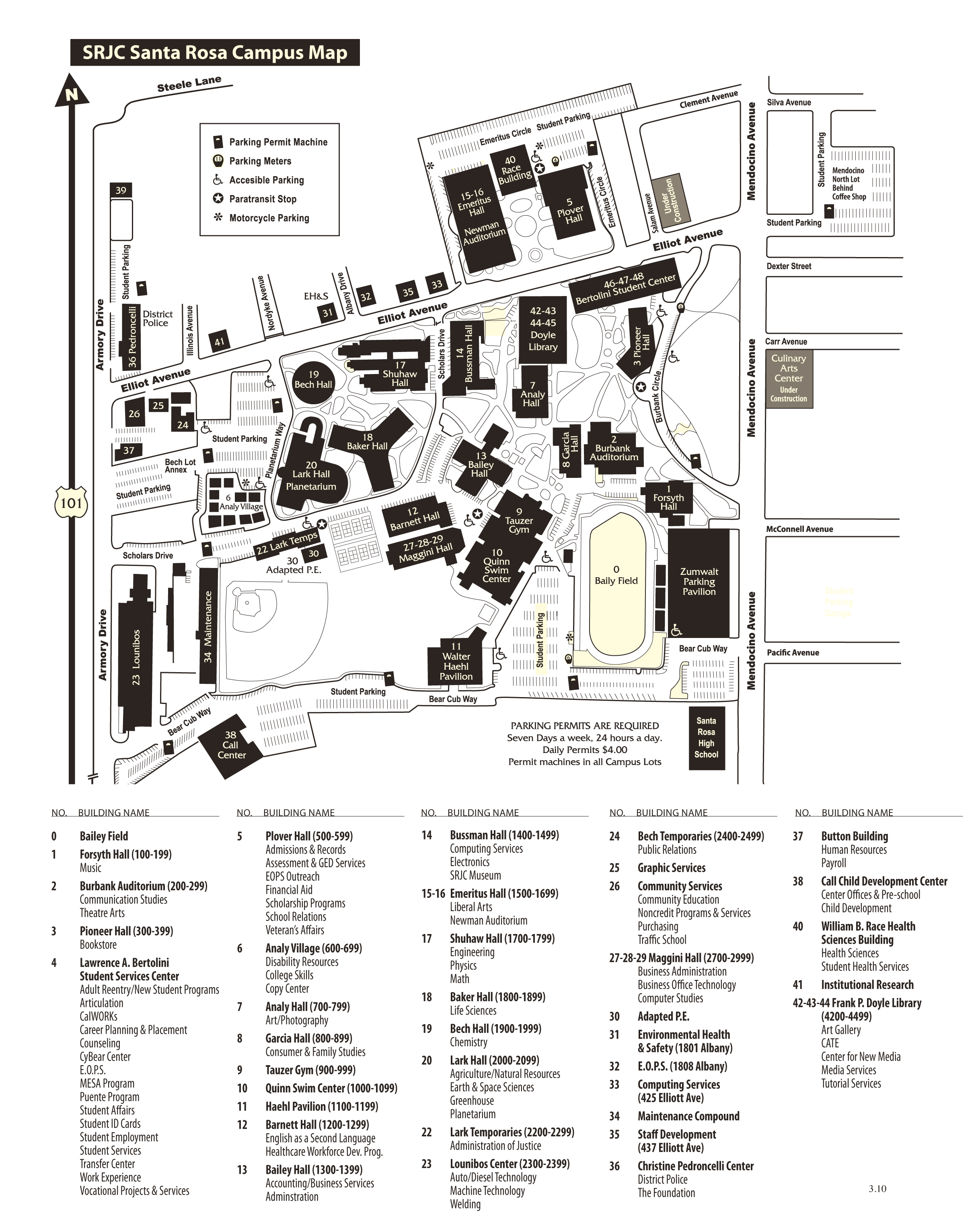 Srjc Sana Rosa Campus Map large map