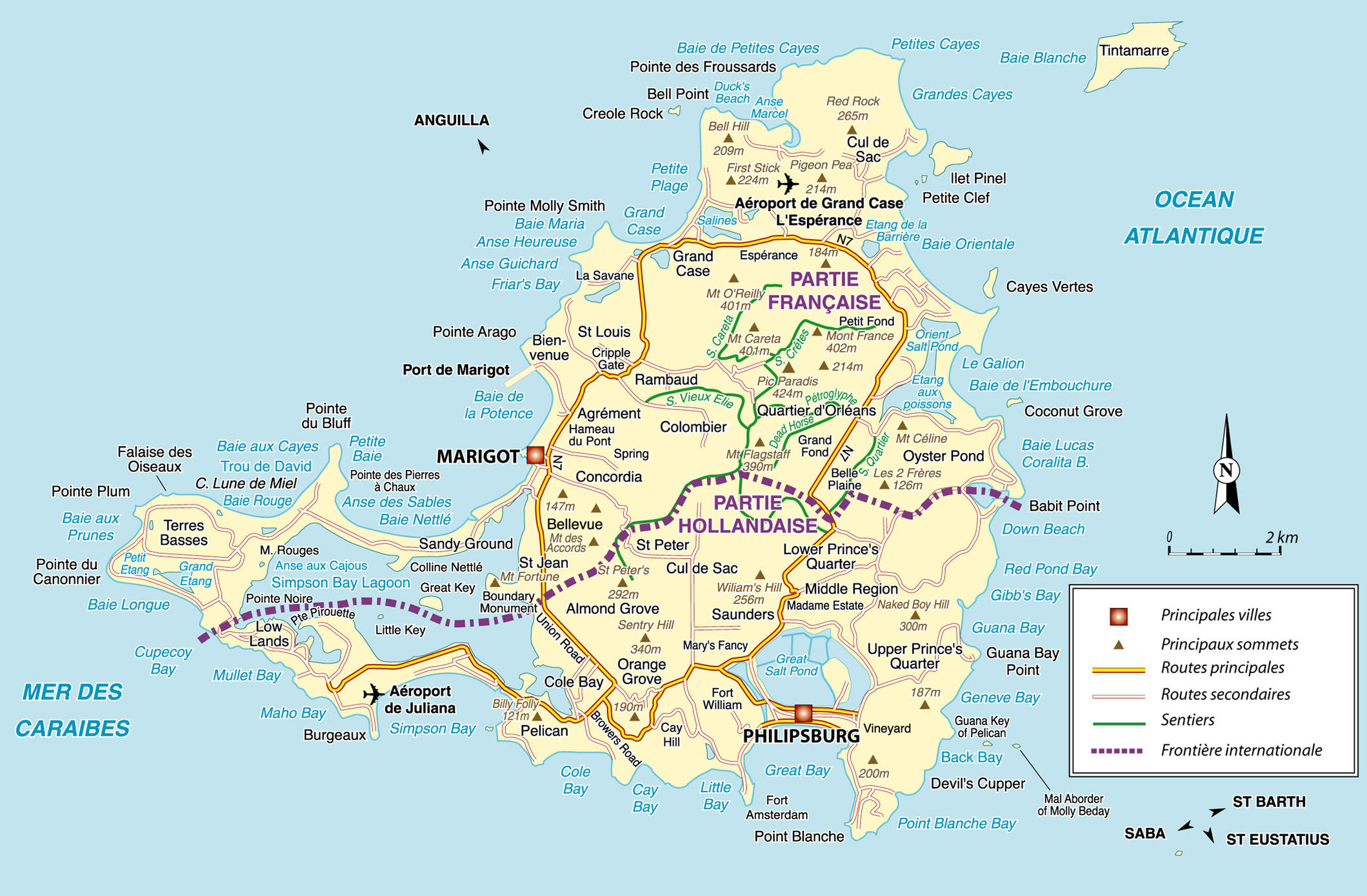 St Martin large map