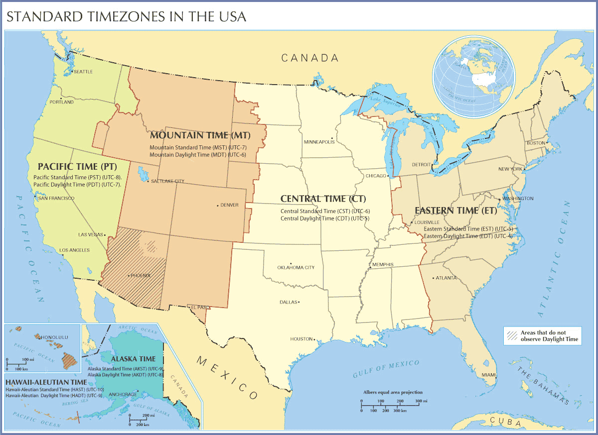 Standard Timezones In the Usa large map