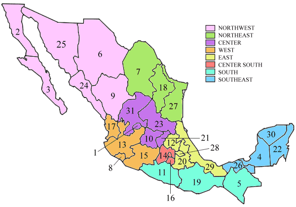 states of mexico large map