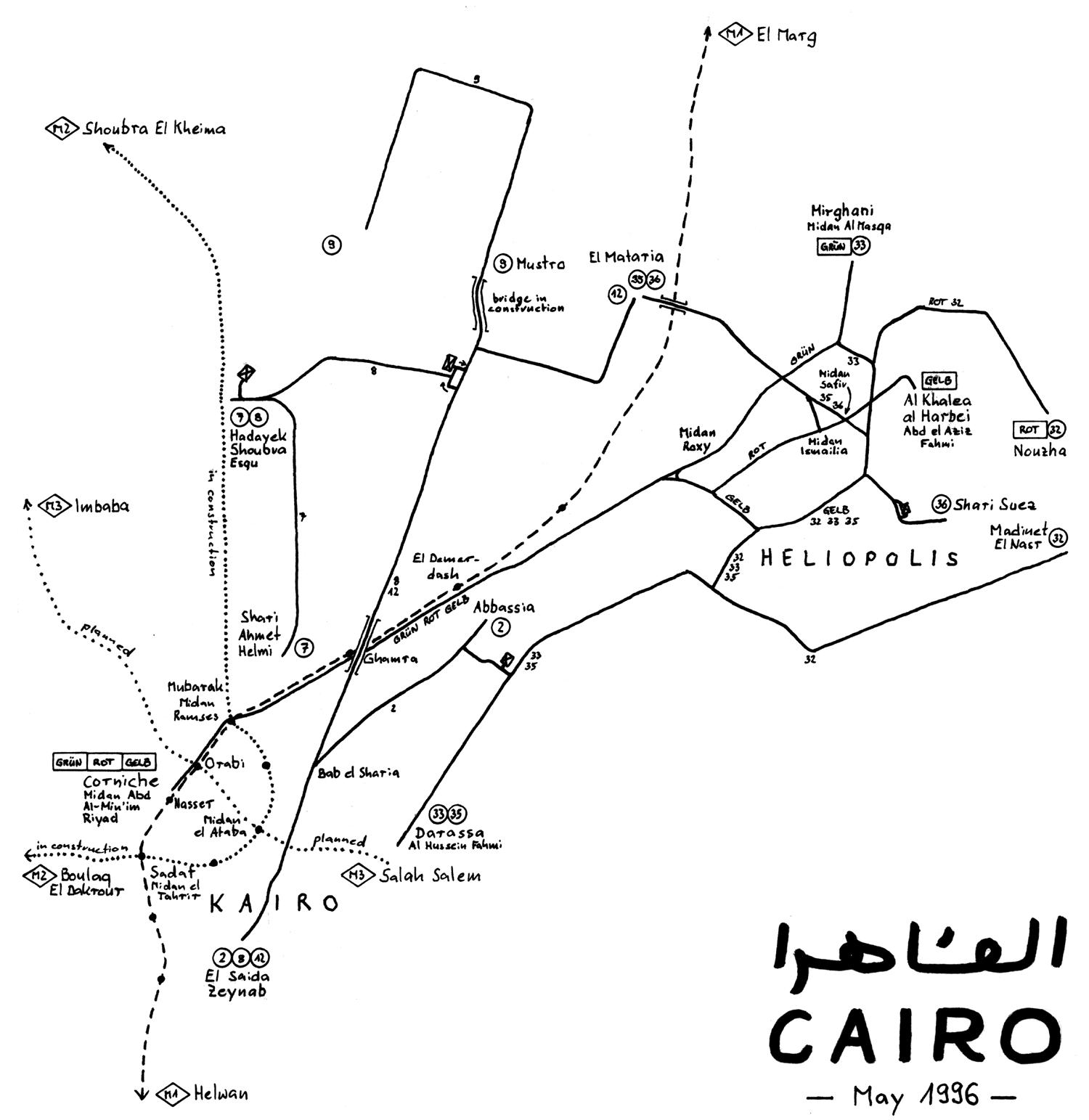 Strassenbahnnetzplankairo1996 large map